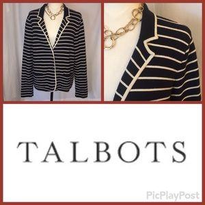 Talbots Black with Cream Stripes Sweater Jacket